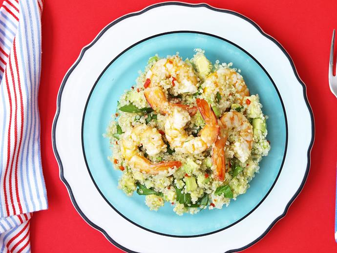 "**[Quinoa and citrus prawn salad](http://www.womensweeklyfood.com.au/recipes/quinoa-and-citrus-prawn-salad-10727|target=""_blank"")**"