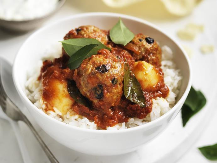 "**[Korma curry meatballs](https://www.womensweeklyfood.com.au/recipes/korma-curry-meatballs-10732 target=""_blank"")**"