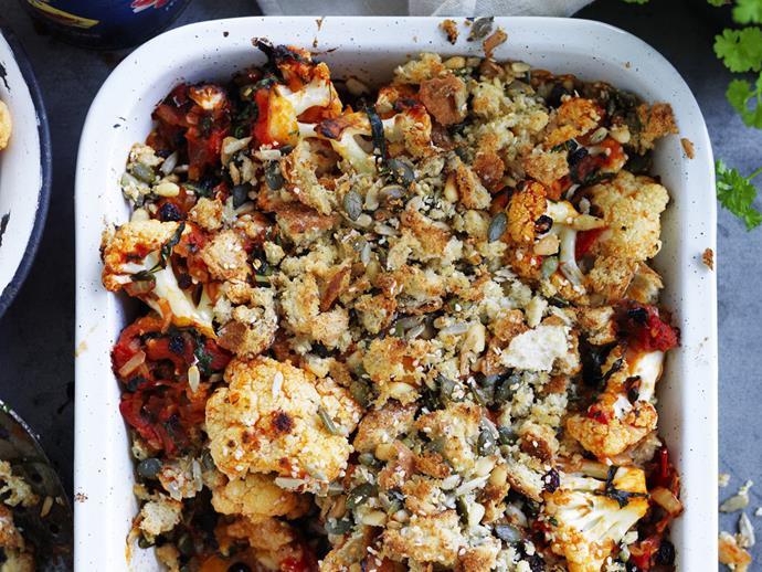 "**[Cauliflower and tomato gratin](https://www.womensweeklyfood.com.au/recipes/cauliflower-and-tomato-gratin-10743|target=""_blank"")**"