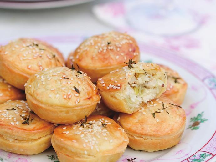 "**[Mini chicken, celery and thyme pies](https://www.womensweeklyfood.com.au/recipes/mini-chicken-celery-and-thyme-pies-4529|target=""_blank"")**  Charming little savoury pies filled with a delicious chicken, celery and thyme mix."