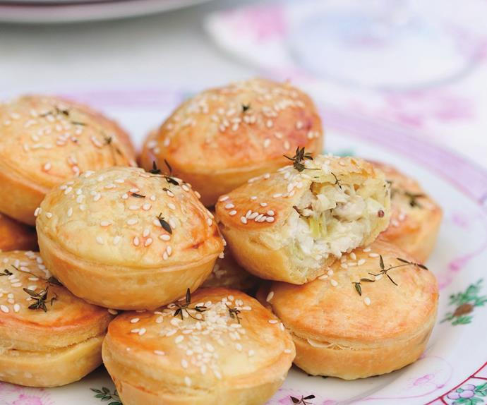 mini chicken, celery and thyme pies