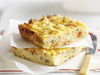baked potato, ham and cheese frittata