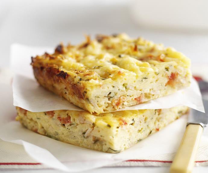 baked potato, ham and cheese frittata