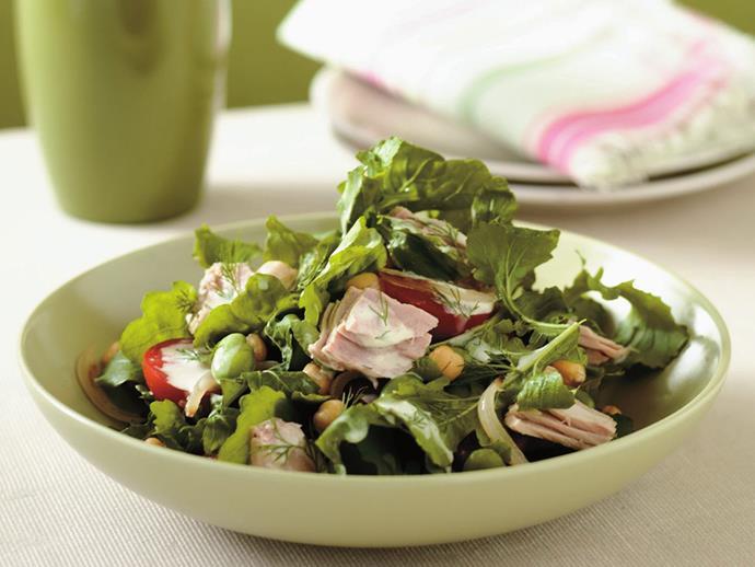 "**[Warm tuna salad with lemon and dill dressing](https://www.womensweeklyfood.com.au/recipes/warm-tuna-salad-with-lemon-and-dill-dressing-10861|target=""_blank"")**"