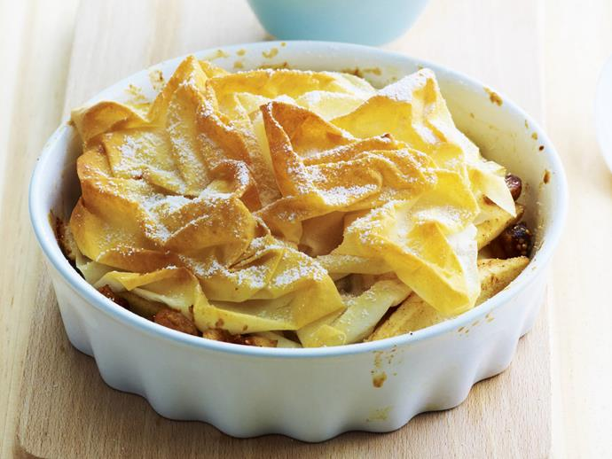"""**[Apple and pear pies](https://www.womensweeklyfood.com.au/recipes/apple-and-pear-pies-10863 target=""""_blank"""")**  Sweet apple, pear and fig sit beneath a crispy filo pastry lid in this delicious autumnal pie."""