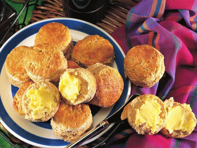 """**[Honey wholemeal scones](https://www.womensweeklyfood.com.au/recipes/honey-wholemeal-scones-10889 target=""""_blank"""")**"""