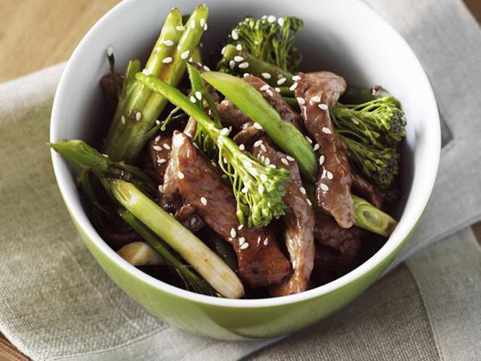 "**[Lamb teriyaki with broccolini](https://www.womensweeklyfood.com.au/recipes/lamb-teriyaki-with-broccolini-10322|target=""_blank"")**"