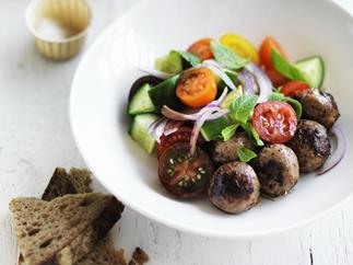 greek lamb meatballs with tomato and mint salad