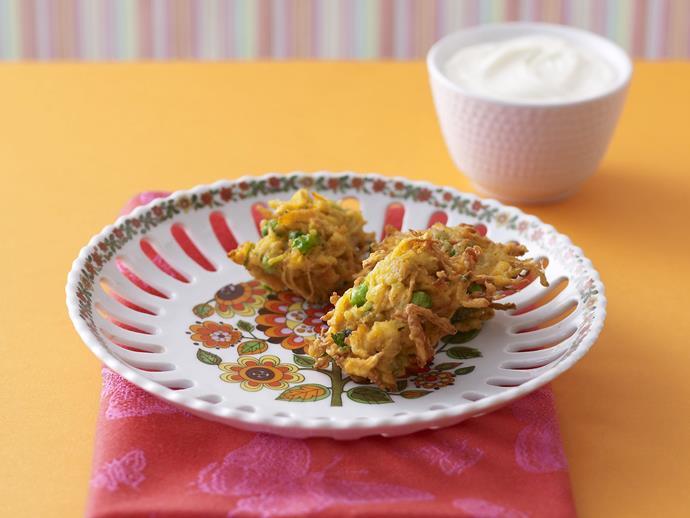 "**[Indian vegetable fritters](https://www.womensweeklyfood.com.au/recipes/indian-vegetable-fritters-10330|target=""_blank"")**"