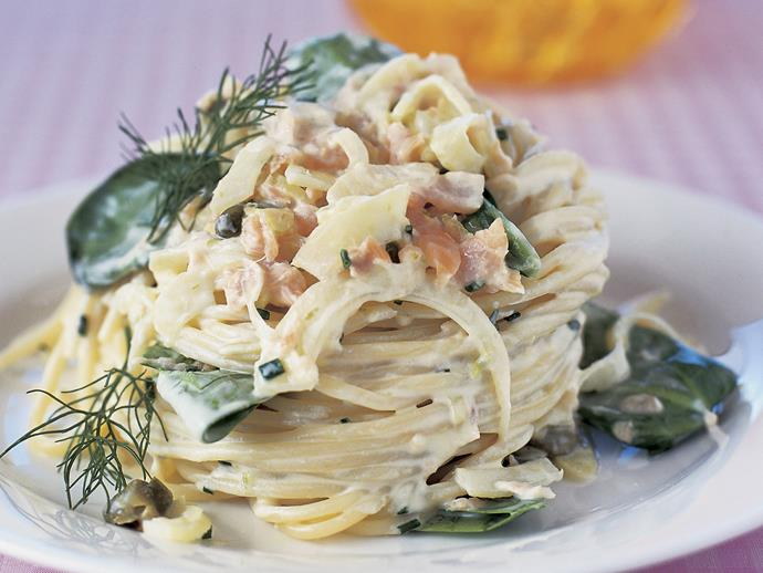 """**[Salmon and fennel spaghetti](https://www.womensweeklyfood.com.au/recipes/salmon-and-fennel-spaghetti-10344