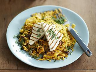 Pumpkin and pistachio couscous with grilled haloumi