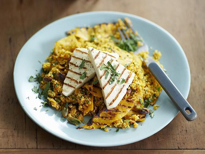 """**[Pumpkin and pistachio couscous with grilled haloumi](https://www.womensweeklyfood.com.au/recipes/pumpkin-and-pistachio-couscous-with-grilled-haloumi-4346