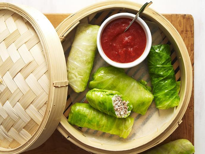 "**[Pork and cabbage rolls](https://www.womensweeklyfood.com.au/recipes/pork-and-cabbage-rolls-4364|target=""_blank"")**"