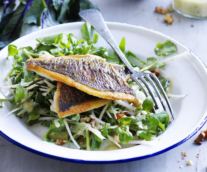 bream with kohlrabi, watercress and walnut salad with buttermilk dressing