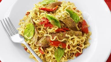 Pesto beef and noodle salad