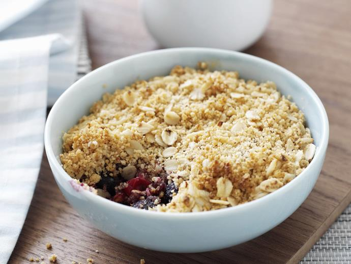 "**[Berry hazelnut crumbles](https://www.womensweeklyfood.com.au/recipes/berry-hazelnut-crumbles-10469|target=""_blank"")**"
