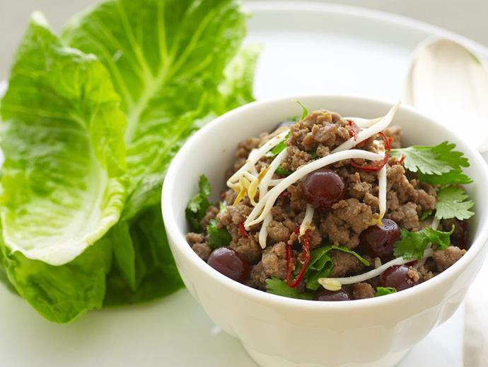 "**[Turkey larb with sour cherries](https://www.womensweeklyfood.com.au/recipes/turkey-larb-with-sour-cherries-10500|target=""_blank"")**"