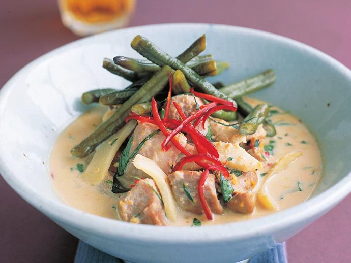 """Rich and fragrant [Thai pork curry with pickled snake beans](https://www.womensweeklyfood.com.au/recipes/thai-pork-curry-with-pickled-snake-beans-10508