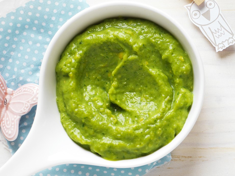 "**[Zucchini, pea and corn purée](https://www.womensweeklyfood.com.au/recipes/zucchini-pea-and-corn-puree-10527|target=""_blank"")**"