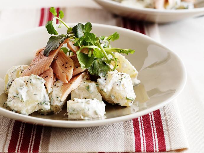 "**[Smoked trout and potato salad with yogurt dressing](https://www.womensweeklyfood.com.au/recipes/smoked-trout-and-potato-salad-with-yogurt-dressing-4062|target=""_blank"")**"