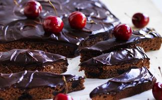 black forest brownies with cherry chocolate ganache
