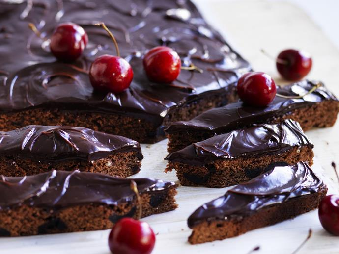 "[Black forest brownies with cherry chocolate ganache recipe.](https://www.womensweeklyfood.com.au/recipes/black-forest-brownies-with-cherry-chocolate-ganache-10534|target=""_blank"")"