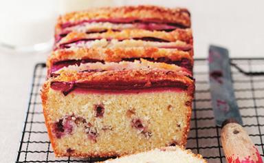 Rhubarb and coconut cake
