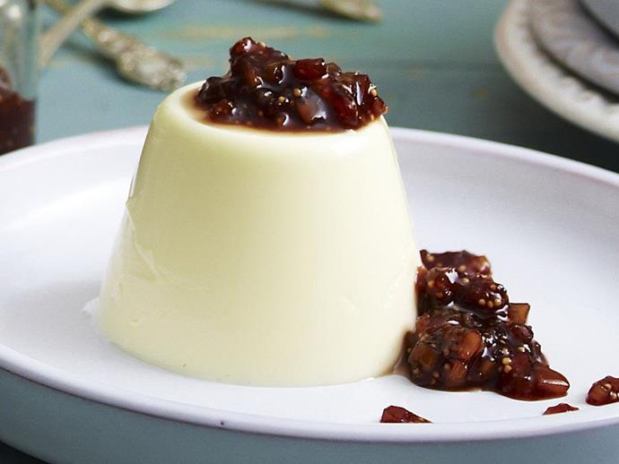 """**[Saffron panna cotta with honeyed figs](https://www.womensweeklyfood.com.au/recipes/saffron-panna-cotta-with-honeyed-figs-10121