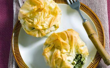 Feta and spinach filo bundles