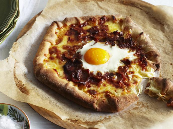 A simple and quick bacon and egg pizza made from scratch by Australian Women's Weekly.