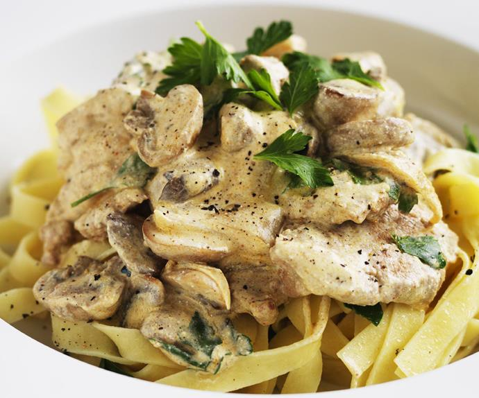 pork stroganoff with parsley fettuccine