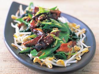 roasted duck and stir-fried greens salad with hoisin dressing