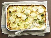 Creamy bacon and fish pie with potato topping