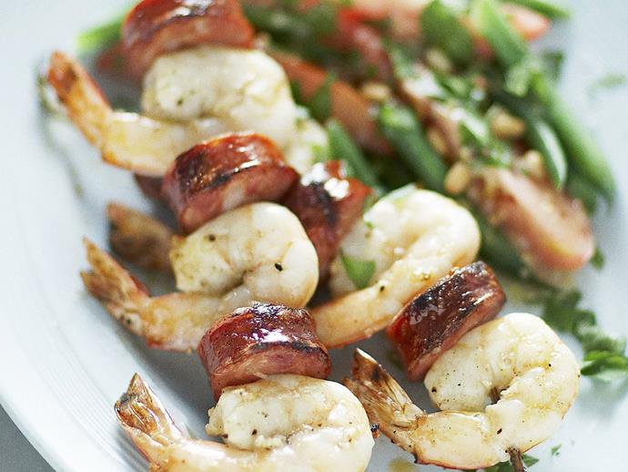 """**[Barbecue prawn and chorizo skewers with bean and tomato salad](https://www.womensweeklyfood.com.au/recipes/barbecue-prawn-and-chorizo-skewers-with-bean-and-tomato-salad-15096