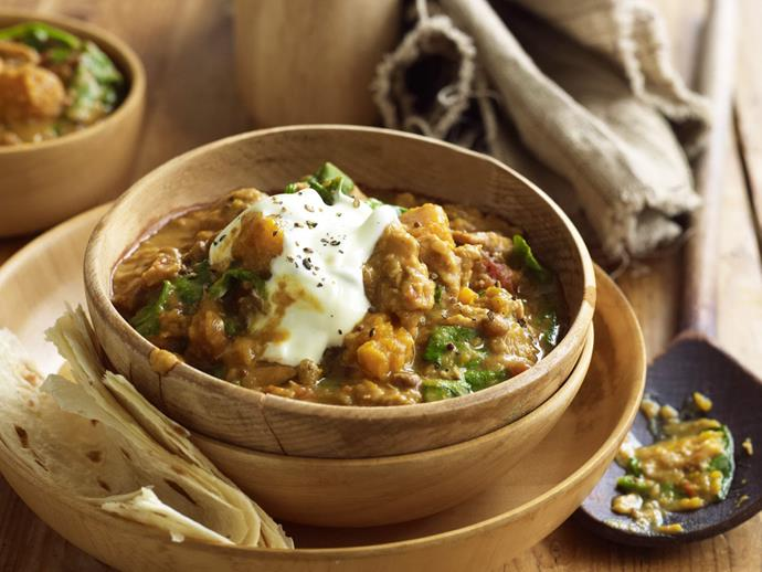 "This [slow-cooked curry](https://www.womensweeklyfood.com.au/recipes/chicken-lentil-and-pumpkin-curry-10215|target=""_blank"") is divine served with a dollop of yoghurt and warm chapatis."