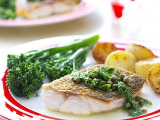 pan-seared snapper with buttery capers