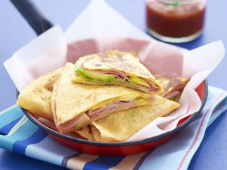 ham, avocado and cheese quesadillas