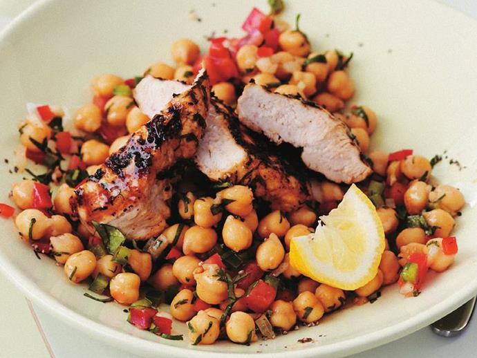 "**[Chermoulla chicken salad](http://www.womensweeklyfood.com.au/recipes/chermoulla-chicken-salad-10244|target=""_blank"")**"