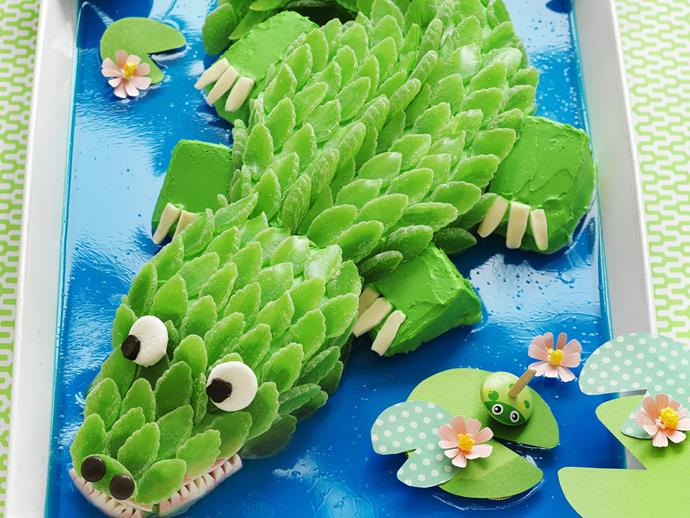 Kids' crocodile cake. For recipe [click here.](http://www.foodtolove.com.au/recipes/kids-crocodile-cake-18435)
