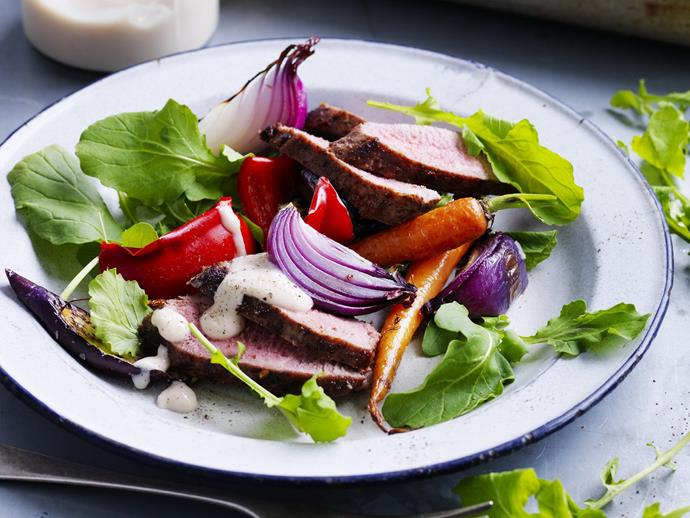 "**[Sumac chilli lamb salad](https://www.womensweeklyfood.com.au/recipes/sumac-chilli-lamb-salad-4157|target=""_blank"")**  Spice-rubbed lamb salad with roast capsicum, red onion and dutch carrots."