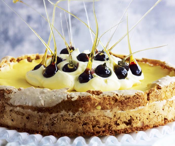 lemon curd meringue cake with blueberries