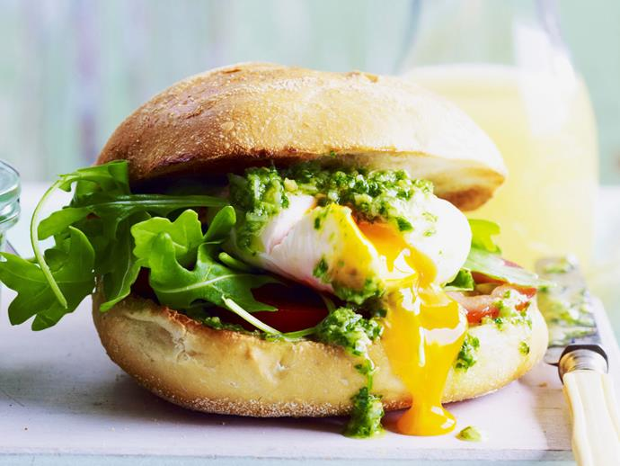 "[Poached eggs in a roll with pesto recipe.](https://www.womensweeklyfood.com.au/recipes/poached-eggs-in-a-roll-with-pesto-4169|target=""_blank"")"