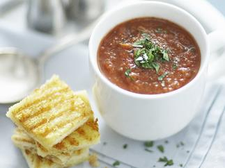 grilled tomato and red capsicum gazpacho