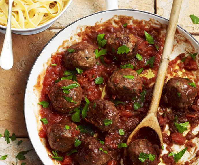 Braised lamb meatballs in red wine