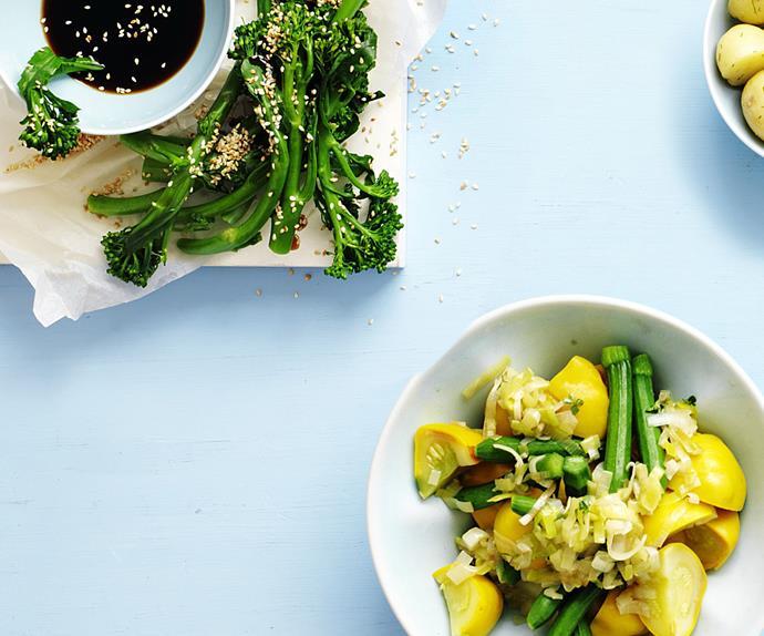 squash and zucchini with leek dressing