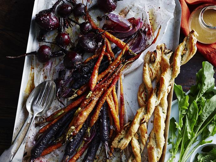 """Delicious and [colourful beetroot and carrot salad](https://www.womensweeklyfood.com.au/recipes/beetroot-and-carrot-salad-with-goats-cheese-twists-9928