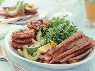 CHICKEN SAUSAGES WITH KUMARA HASH BROWNS