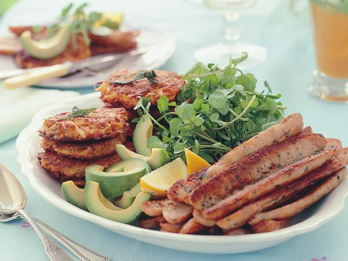 "**[Chicken sausages with kumara hash browns](https://www.womensweeklyfood.com.au/recipes/chicken-sausages-with-kumara-hash-browns-9937|target=""_blank"")**"