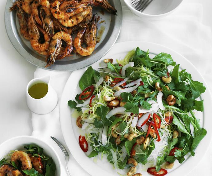 barbecued chilli prawns with green mango and coconut salad
