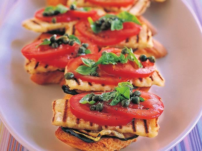 "**[Mediterranean vegetable and haloumi bruschetta](https://www.womensweeklyfood.com.au/recipes/mediterranean-vegetable-and-haloumi-bruschetta-9963|target=""_blank"")**  Serve up this delicious Mediterranean style bruschetta at your next gathering. Haloumi is a cheese that just begs to be grilled, and combined with tomatoes, basil and capers it is out of this world."